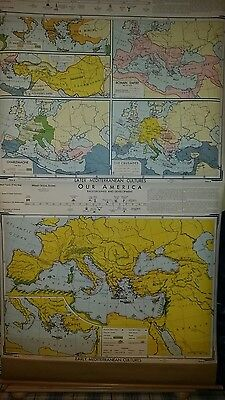 VINTAGE Pull Down School Map -  Early & Later Mediterranean Cultures
