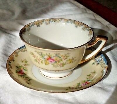 Meito China Tea Cup & Saucer Set Hand-Painted 'royal Crown' Made In Japan