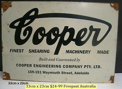 Coopers Shearing And Ag Machinery Metal Sign Freepost Australia