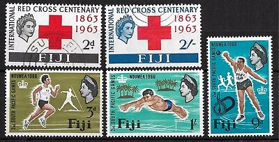 Fiji 1963 Red Cross SC 203-4; S. Pacific Games 1966 SC 226-8. 2018 cv $4.75