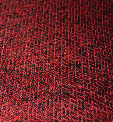 Vintage 50s Mid Century Mod Nubby Red and Black Upholstery Sewing Fabric - MCM