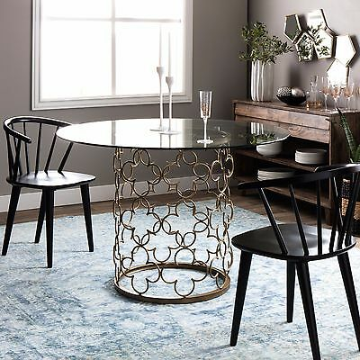 Glass Top Dining Tables Round Gold Metal Sculpture Base For Small Areas Modern