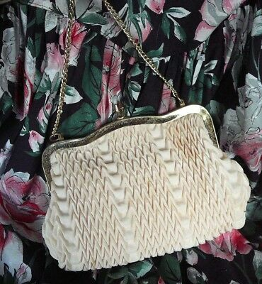 Vintage 50s 1960s  Cream Ivory Ruched EVENING BAG Clutch  Purse Retro