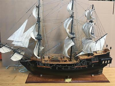 """HMS Endeavour 35 1/2"""" wooden model tall ship sail boat new fully assembled"""