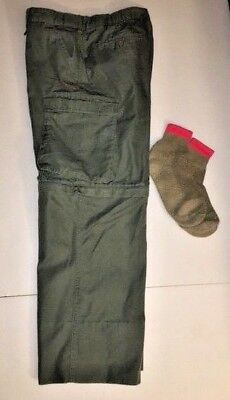 "Boy Scout™ Men's Relaxed 32 Canvas Cargo Pant 35 1/2"" Waist Convertible w/SOCKS!"