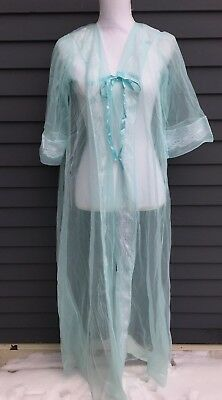 Vintage woman's negligee peignoir sheer aqua blue lace ribbon sz S 1960s 1970's