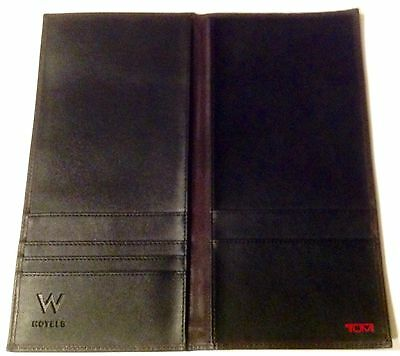 Nwot Slim Black/brown Leather/ballistic Tumi Travel Passport Wallet The W Hotels