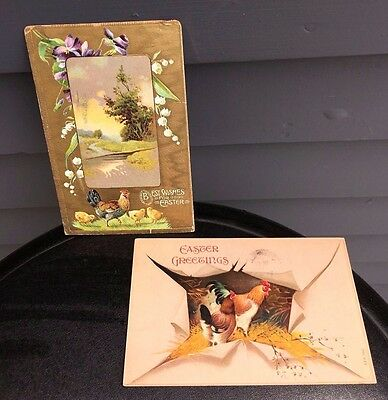 Antique Victorian Easter Greetings postcards color roosters chickens 1909 1910