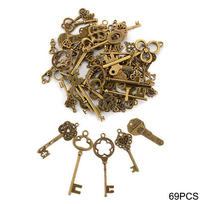 69x Antique Vintage Old Look Skeleton Key Pendant Heart Bow Lock Steampunk CR040