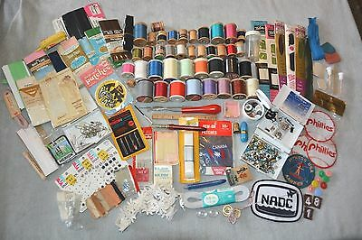 Large Lot Of Mixed Sewing Notions Thread Zippers Bias Tape Wooden Thread Spools