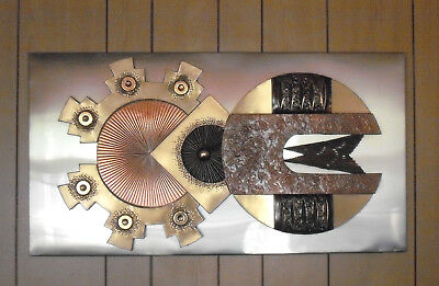 Large 1970s/80s Brutalist Metal Wall Sculpture in the Style of Stephen Chun