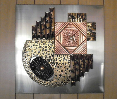 1970s/80s Brutalist Metal Wall Sculpture in the Style of Stephen Chun
