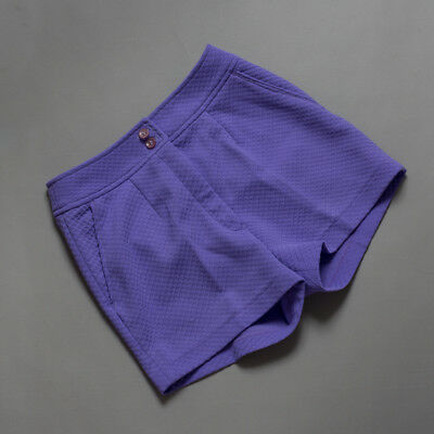 vintage 70s shorty shorts, purple crimpolene polysester hipsters