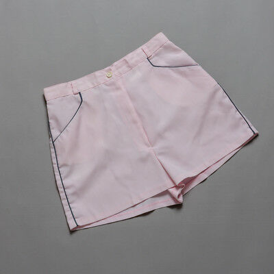 vintage 70s shorty shorts, pretty pink with seam side pockets, grey ticking
