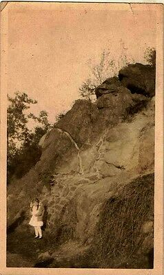 Old Vintage Antique Photograph Little Girl Standing By Huge Rock Mountain