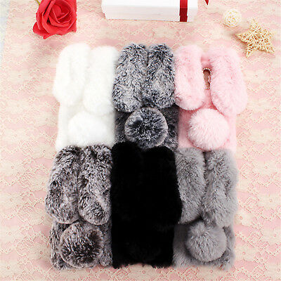 Bling Crystal Rabbit Fur Plush Fluffy Warm Winter Case Cover for Xiaomi Phones