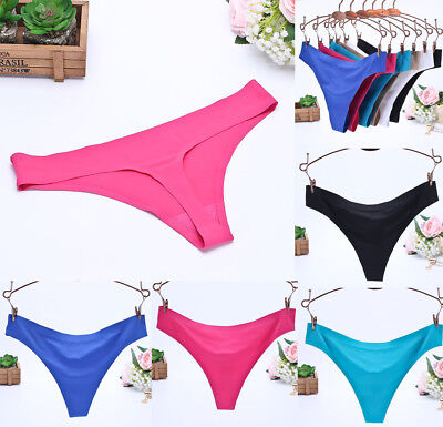 UK Women Sexy Ice silk G-string Panties Seamless Lingerie Thongs Briefs Knickers