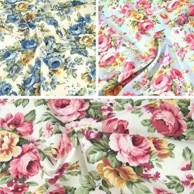 100% Cotton Poplin Fabric Rose & Hubble Peony Floral Garden Flowers