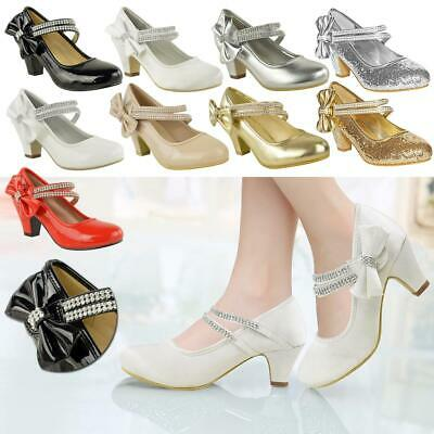 Girls Childrens Kids Low Mid Heel Diamante Party Shoes Bridesmaid Sandals Size