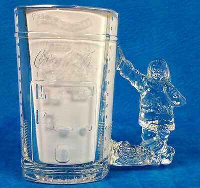 NEW Serve Yourself COCA COLA Christmas SANTA Handle Clear GLASS MUG 20 oz NICE!