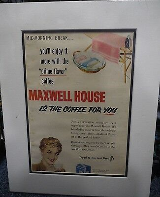 Original Vintage 1950's Advert mounted ready to frame Maxwell House Coffee 1959