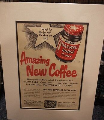 Original Vintage 1950's Advert mounted ready to frame Maxwell House Coffee 1955