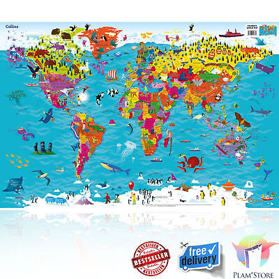 Children's World Map Wall Decor Poster Animals School Large Educational Toddler