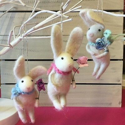 Whte Wool Easter Bunny with Flower & Scarf Decoration Gisela Graham Decoration