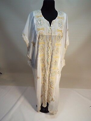 women white gold embroidered Indian dress kuftan caftan abaya gown size S