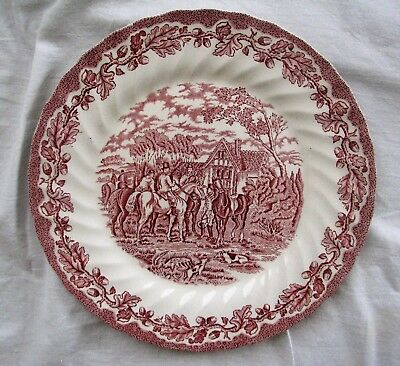 red transferware Vintage Myotts Country Life HORSES HUNTING dinner plate 10""
