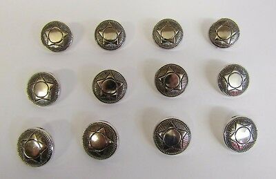 "* Vintage * 12 Chrome-Look 5 Point Star Buttons * 7/8"" (21 mm) Diameter *"
