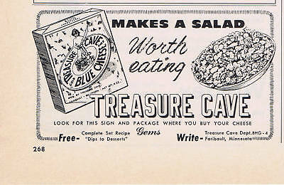 1956 Advertisement - TREASURE CAVE BLUE CHEESE, FARIBAULT, MN