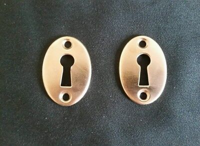 Pair Of Antique Solid Brass Door Keyhole Covers Escutcheons  (F)