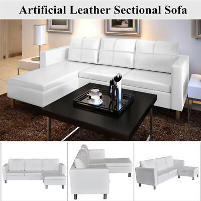 Modern 3-Seater L-shaped Artificial Leather Sectional Sofa Couch Furniture White