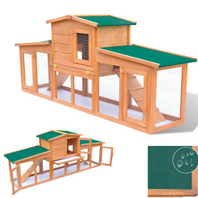 """Deluxe Wooden Chicken Coop 75"""" Large Hen House Rabbit Hutch Poultry Pet Cage"""
