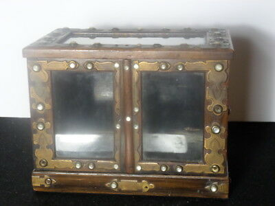 Small Victorian Display Case with Mother of Pearl Studs