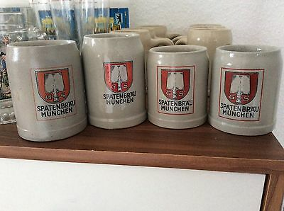 Bavarian Spaten Brauhaus Steins 4 Mugs Munich Germany Oktoberfest
