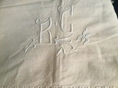 Antique French Linen & Cotton Sheet Monogrammed B C