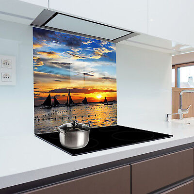 Kitchen Glass Splashback Printed Panels Heat Resistant Toughened Glass 125x50cm
