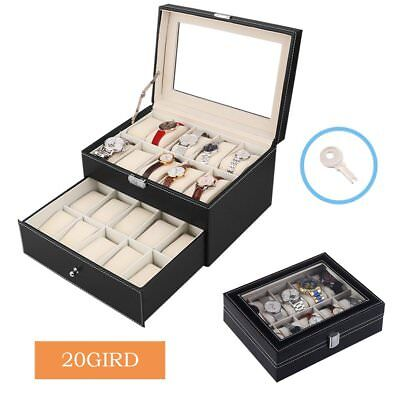 Leather 6 8 10 12 20 Slots Wrist Watch Display Box Storage Holder Organizer Case