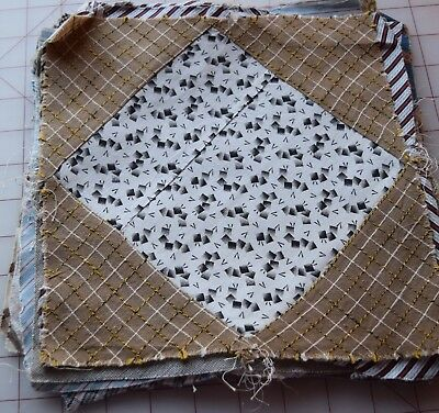 17 1870-90 Diamond in a Square quilt blocks, lovely taupe colors, Thread dyes