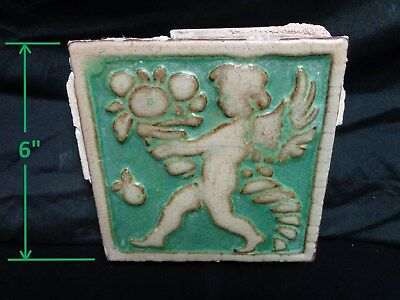 VERY RARE * Grueby Pottery * CUPID & CORNUCOPIA in PRIZED GREEN (SAVE U FRAME)