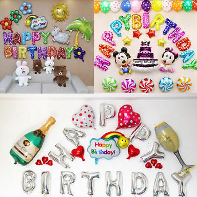 "16"" Large Happy Birthday Self Inflating Balloons Banner Bunting Party Decoration"