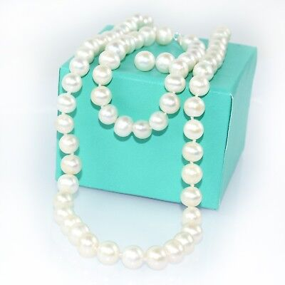 8MM Natural White Round Pearl Necklace Bracelet Earrings Bridal Gift Set Silver