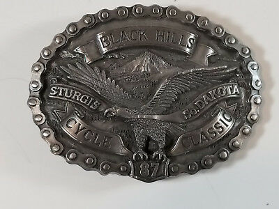 Vintage 1987 Sturgis Black Hills Cycle Classic Belt Buckle