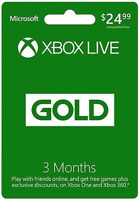 Microsoft Xbox LIVE 3 Month Gold Membership Xbox 360 / XBOX ONE NEW