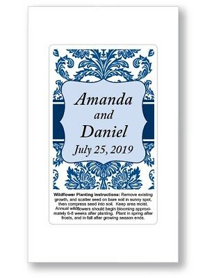 Vintage Wedding Bridal Shower Favors Seed Packets Personalized