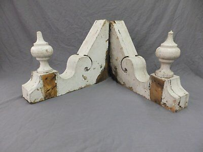 Antique Shabby Wood Victorian Corbels Roof Brackets Vtg Old Country Chic 293-18P