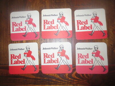 6 x JOHNNIE WALKER Scotch Whisky 1990,S Issue collectable COASTERS