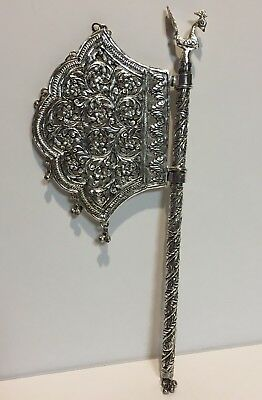 Decorative Silver Colored Peacock Beaded Noise Maker Spinning Fan On Pole